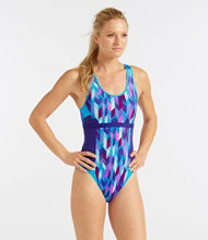 Women's L.L.Bean Active Swim Collection, Racer-Back Tanksuit Print