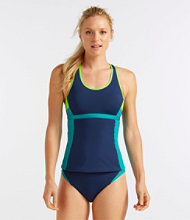 L.L.Bean Active Swim Collection, Racerback Tankini Top, Colorblock