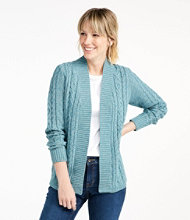 Double L Cotton Sweater, Open Cardigan