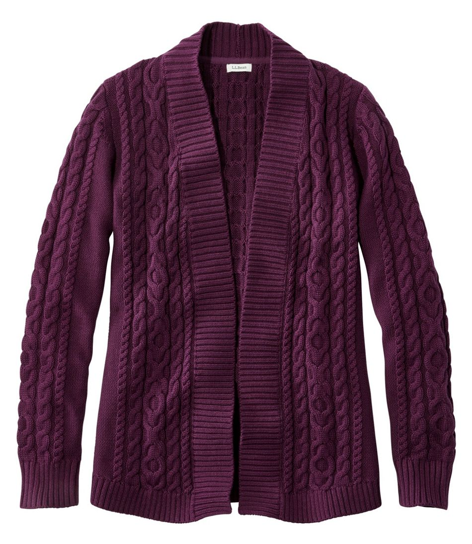 Double L® Cotton Sweater, Open Cardigan