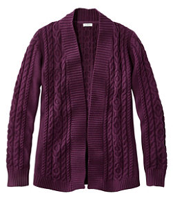 Women's Double L Cotton Sweater, Open Cardigan