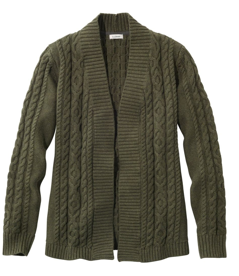 Women's Double L® Cotton Sweater, Open Cardigan