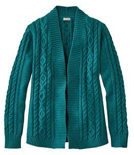 Women's Double L Cotton Sweater, Open Cardigan