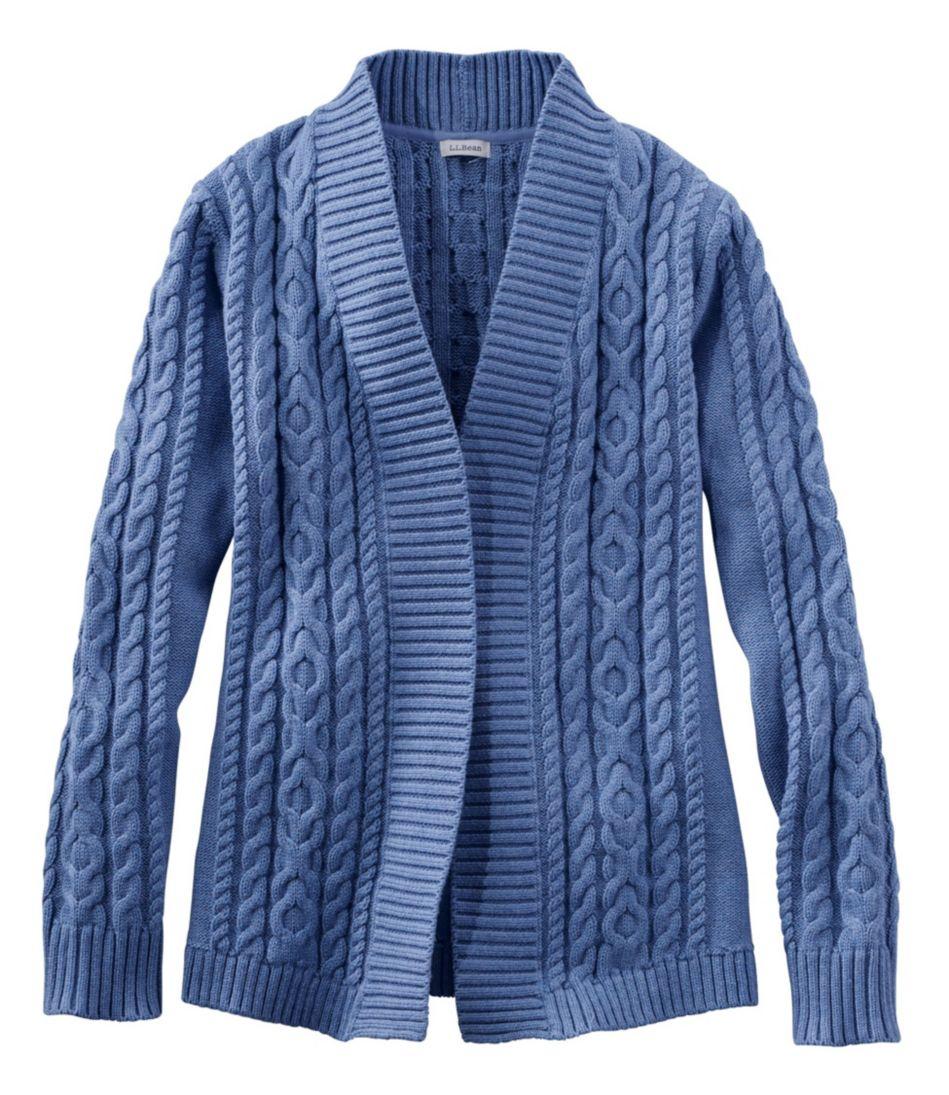 Double L® Cotton Sweater, Open Cardigan