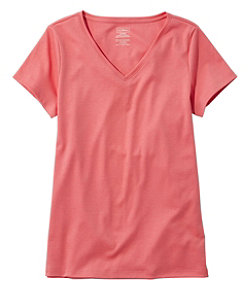 Women's Pima Cotton Shaped V-Neck, Short-Sleeve
