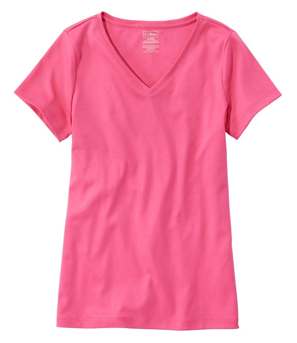 Women's Pima Cotton Shaped V-Neck, Short-Sleeve