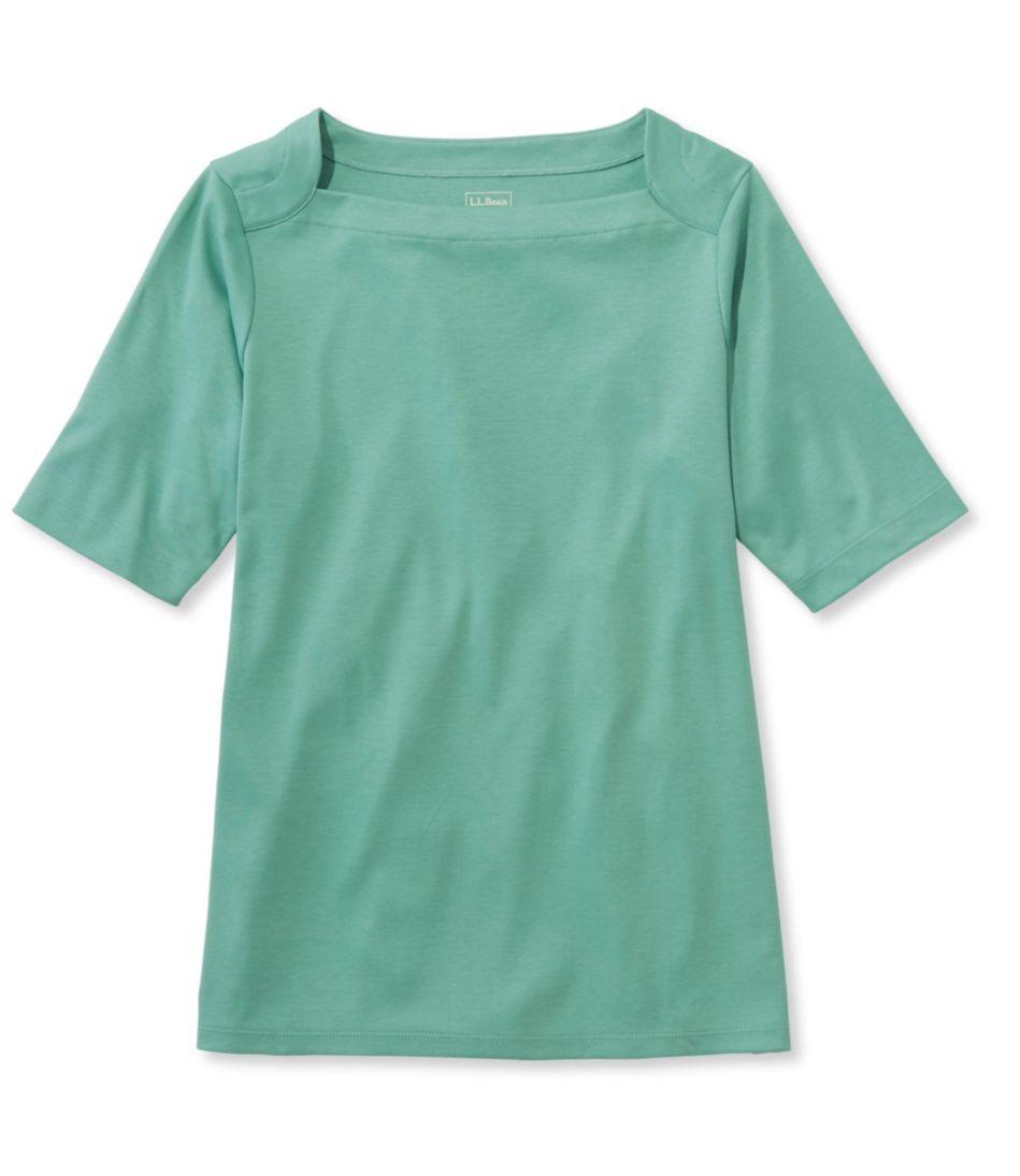 Pima Cotton Tee, Elbow Sleeve Envelope-Neck