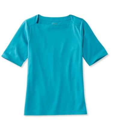 Pima Cotton Tee, Elbow Sleeve Envelope-Neck
