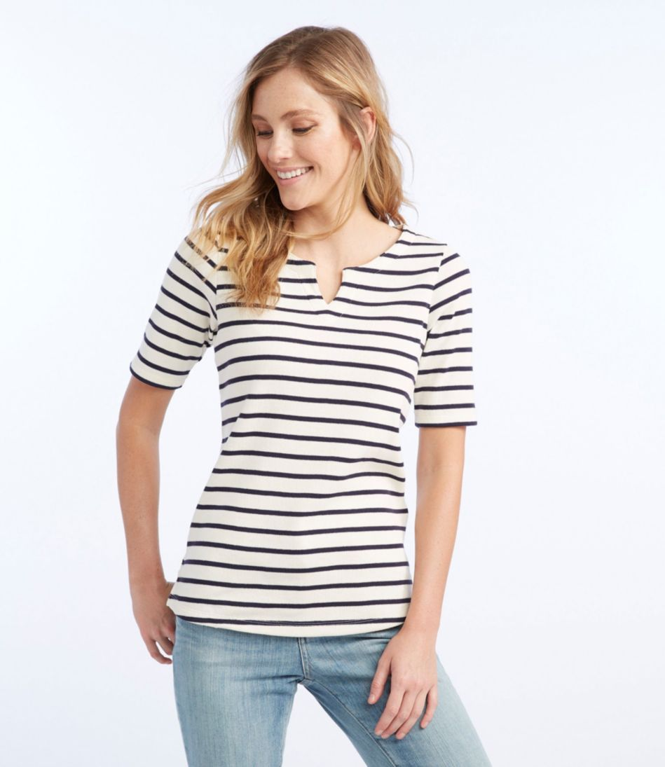 French Sailor's Shirt, Elbow-Sleeve Split-Neck