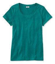 Women's Double L Rib-Knit Tee, Short-Sleeve Open Crewneck