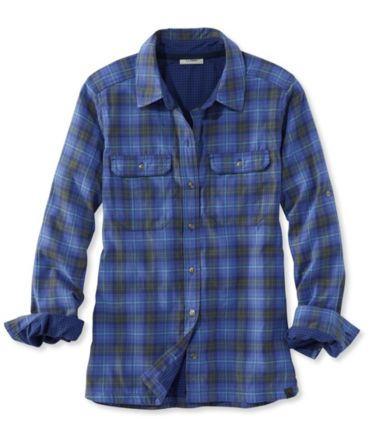 Double Cloth Performance Woven Shirt L/S Plaid Misses Regular