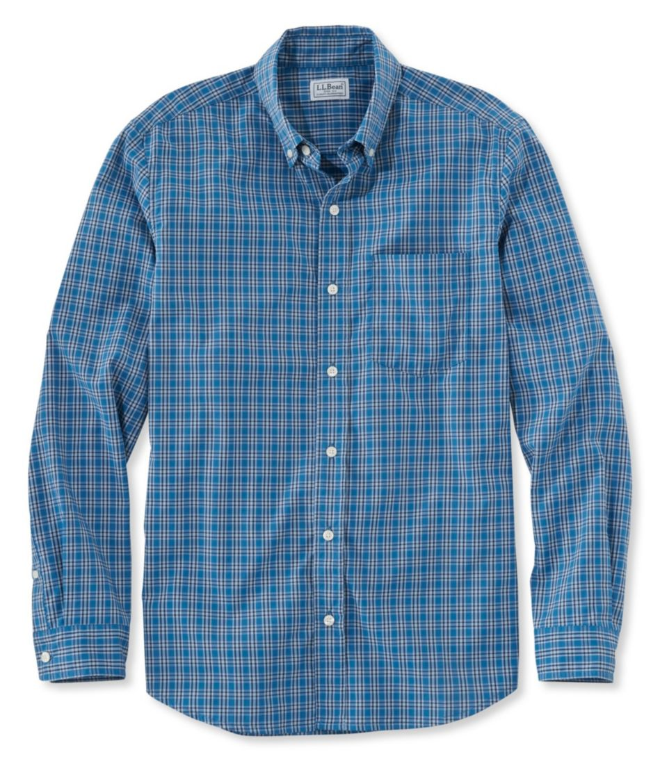 Men's L.L.Bean Stretch Twill Shirt, Long-Sleeve Slightly Fitted Plaid