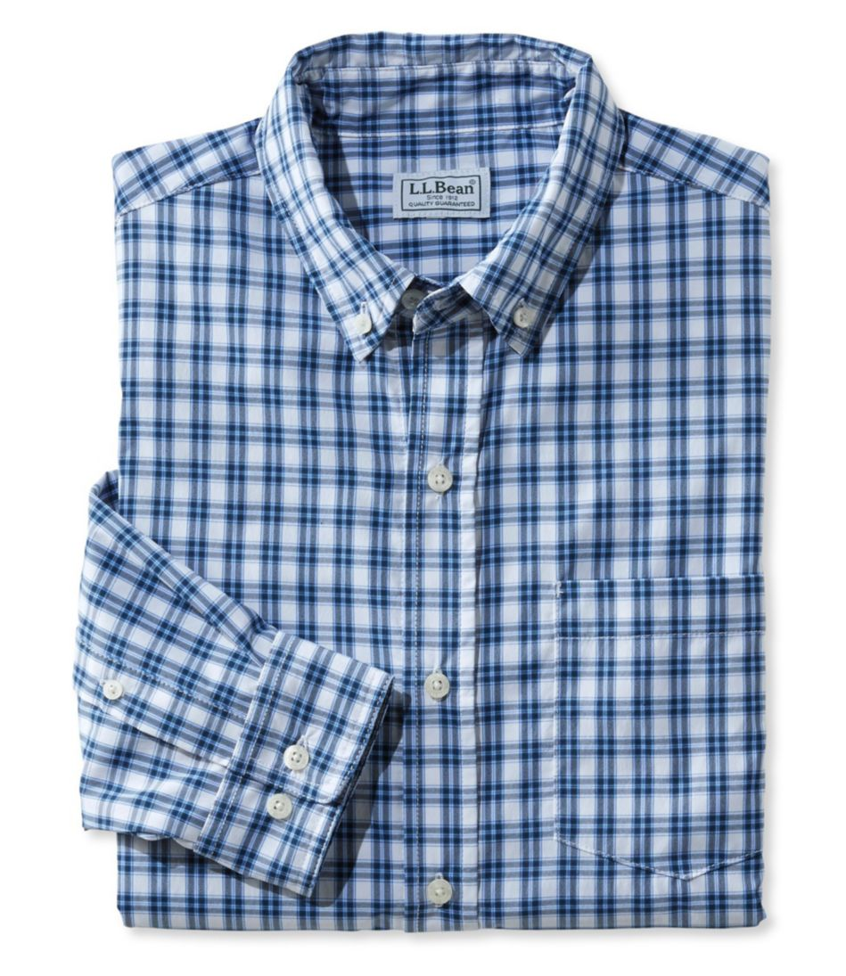 L.L.Bean Stretch Twill Shirt, Long-Sleeve Slightly Fitted Plaid