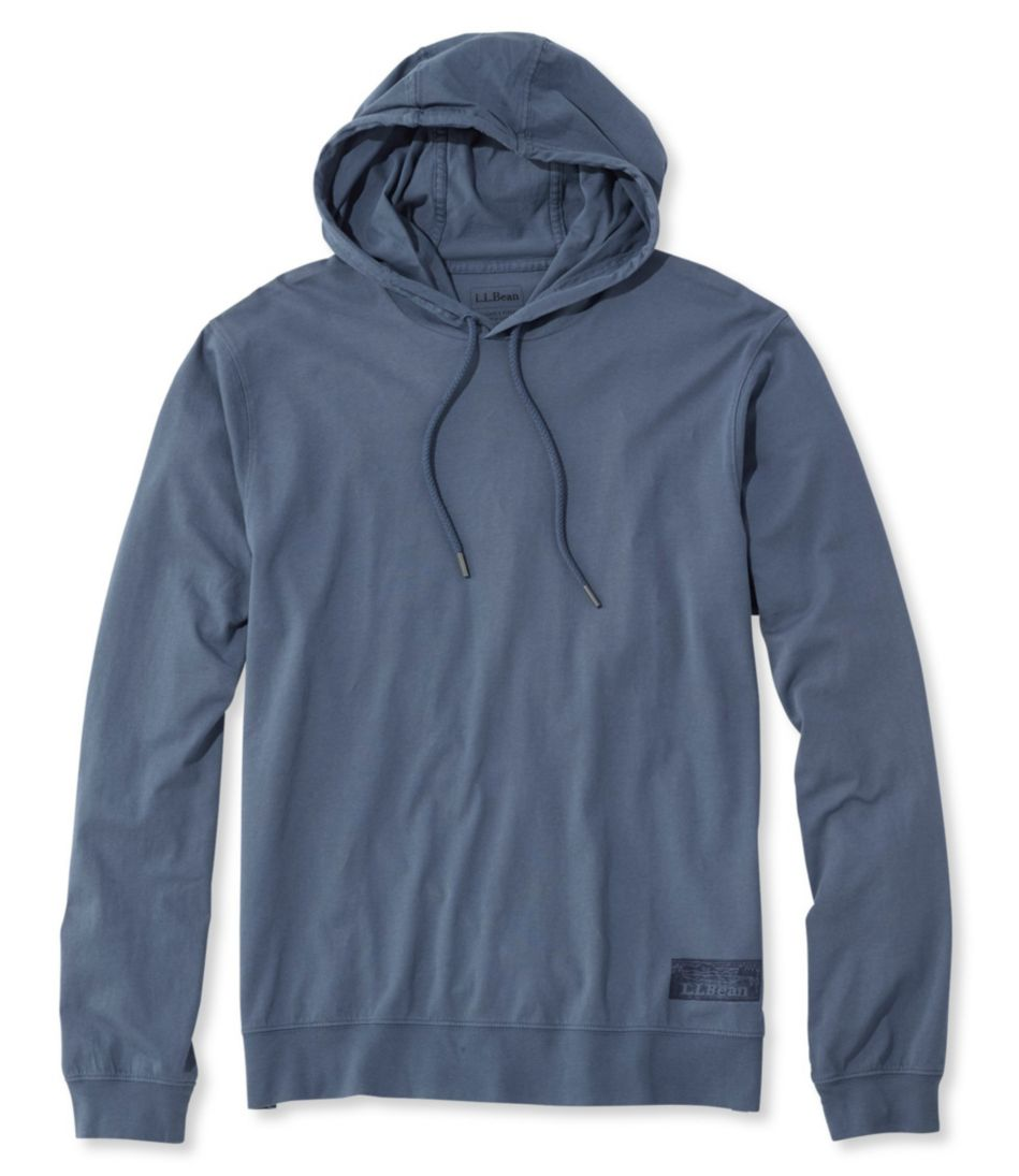 Lakewashed Garment-Dyed Hooded T-Shirt, Slightly Fitted Long-Sleeve