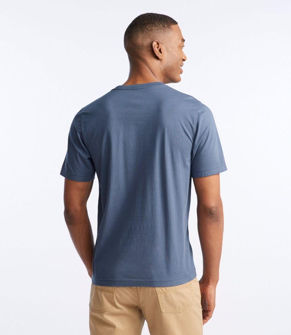 Lakewashed Garment-Dyed Cotton Crewneck Graphic Tee, Slightly Fitted Short-Sleeve Canoe