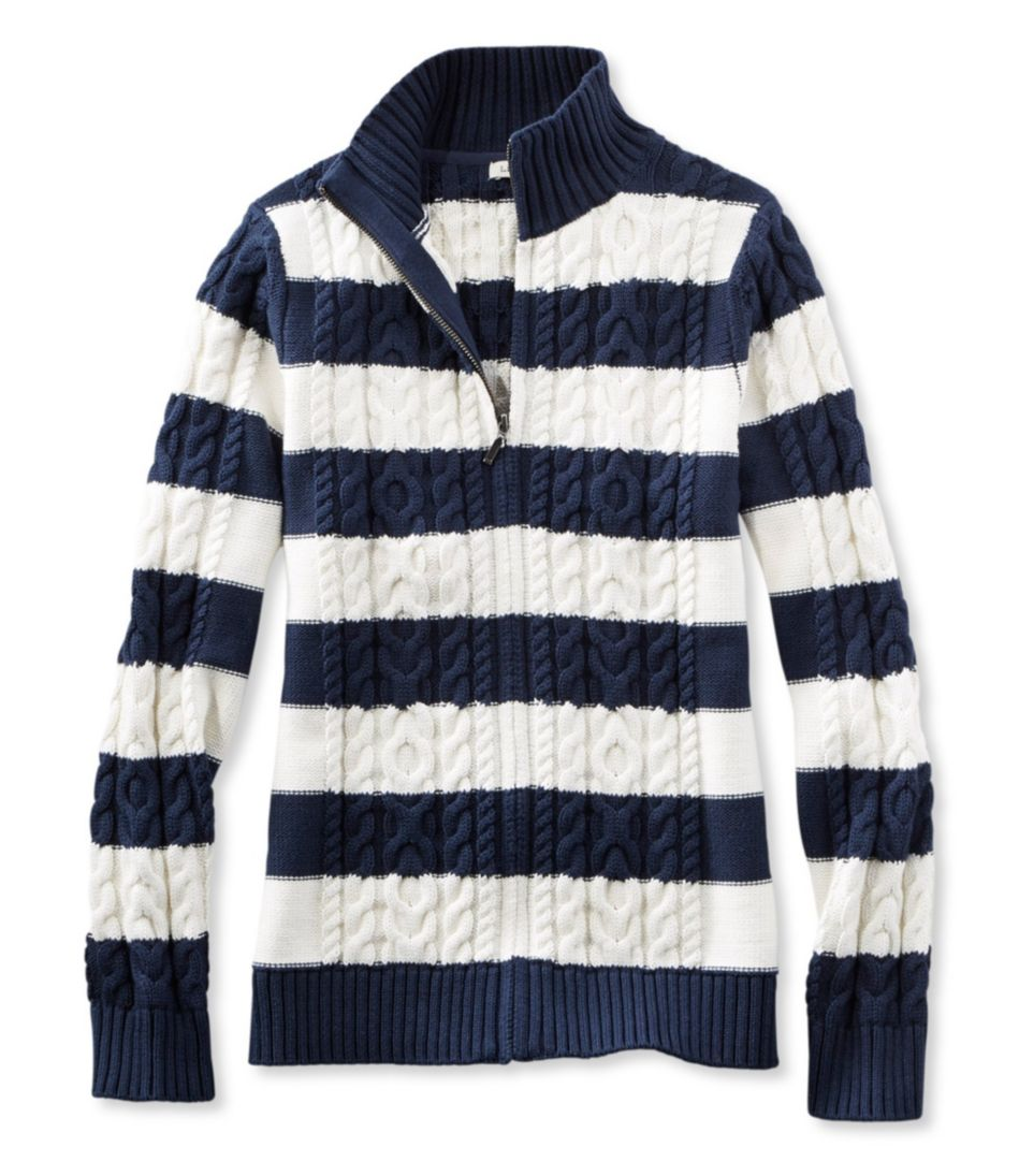 Double L® Mixed Cable Sweater, Zip-Front Cardigan Stripe