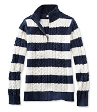 Women's Double L Mixed Cable Sweater, Zip-Front Cardigan Stripe