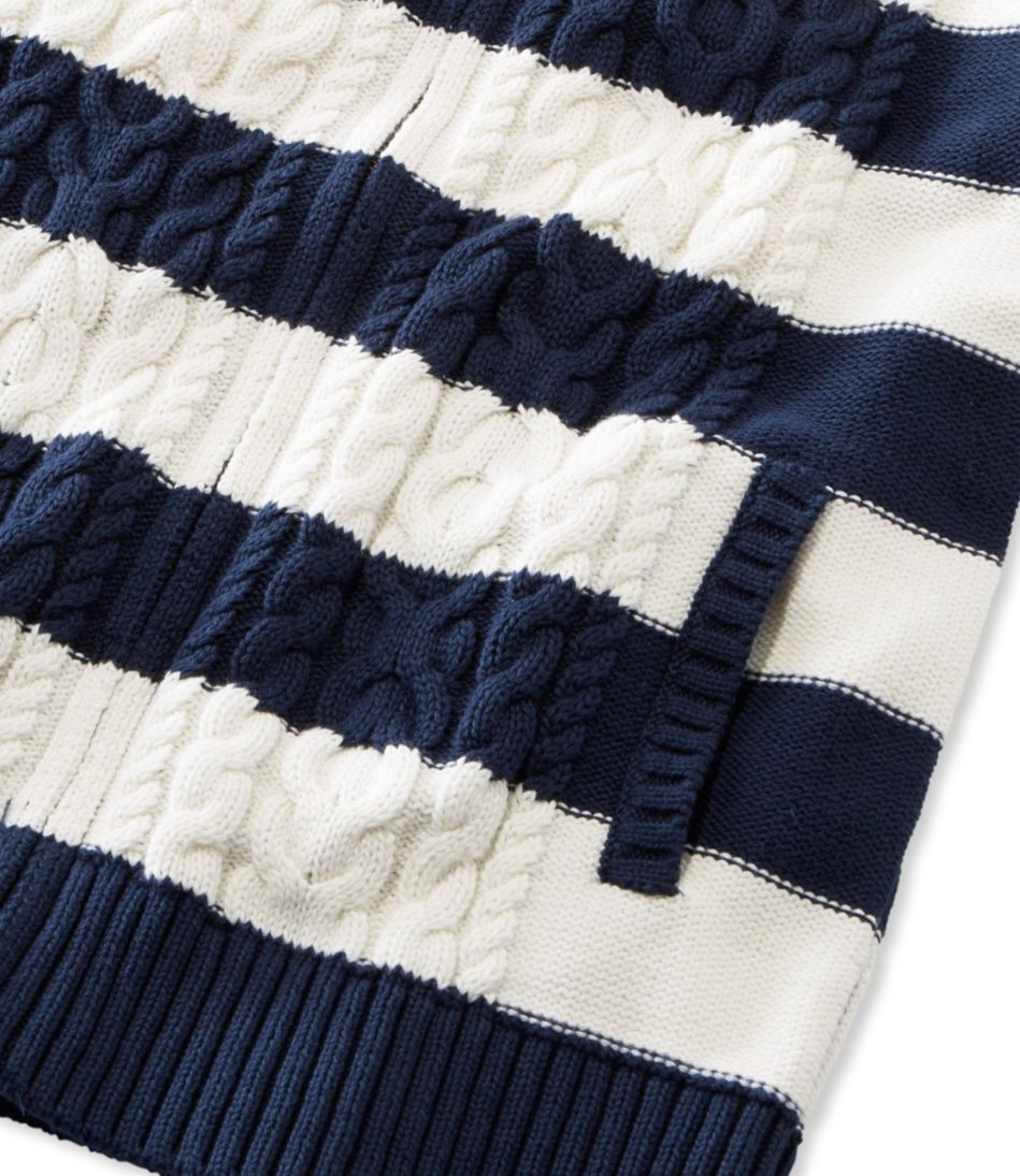 Double L® Mixed Cable Sweater, Zip-Front Hoodie Stripe