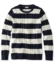 Double L Mixed Cable Sweater, Crewneck Stripe