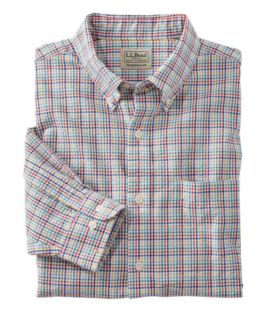 Men's Seersucker Shirt, Long-Sleeve Tattersall