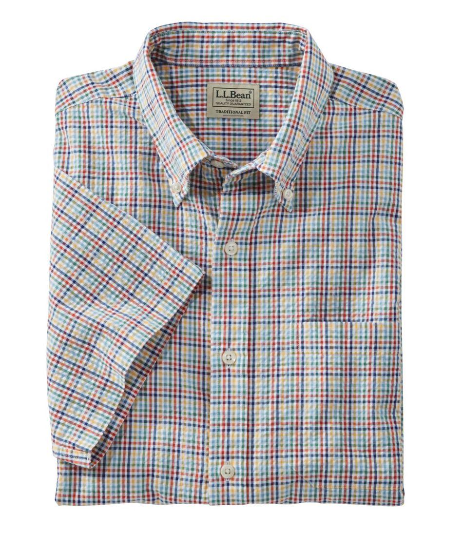 Men's Seersucker Shirt, Traditional Fit Short-Sleeve Tattersall