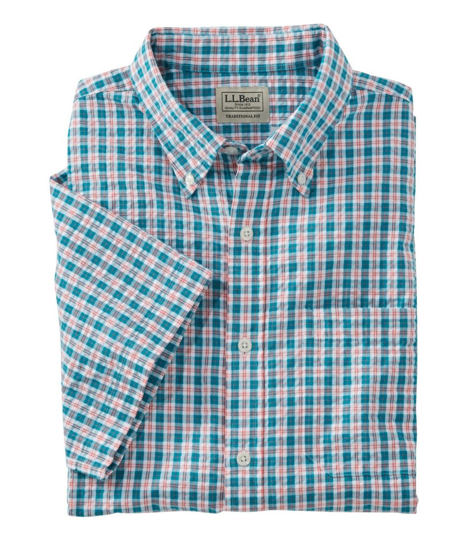 Men's Seersucker Shirt, Traditional Fit Short-Sleeve Tattersall