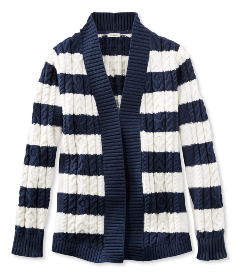 Double L® Cotton Sweater, Open Cardigan Stripe