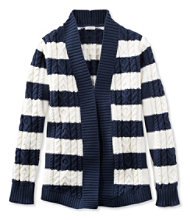 Women's Double L Cotton Sweater, Open Cardigan Stripe
