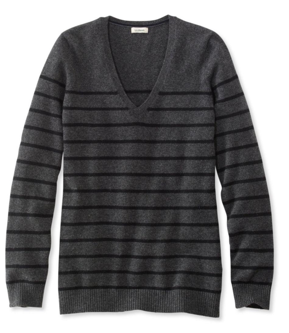Classic Cashmere Sweater, V-Neck Stripe