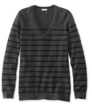 Classic Cashmere Sweater, V-Neck Stripe
