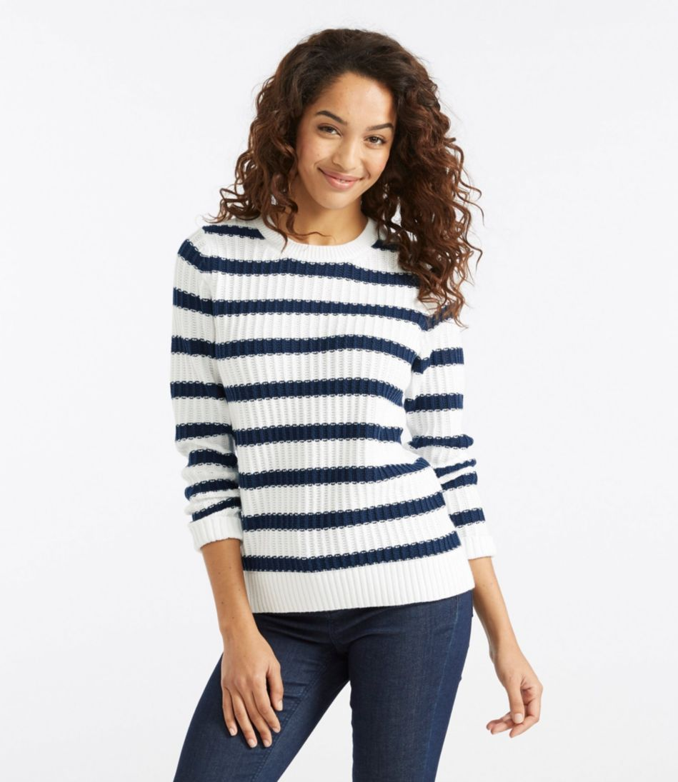 Fisherman's Ribbed Sweater, Crewneck Stripe