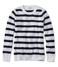 Fisherman's Ribbed Sweater, Crewneck Stripe