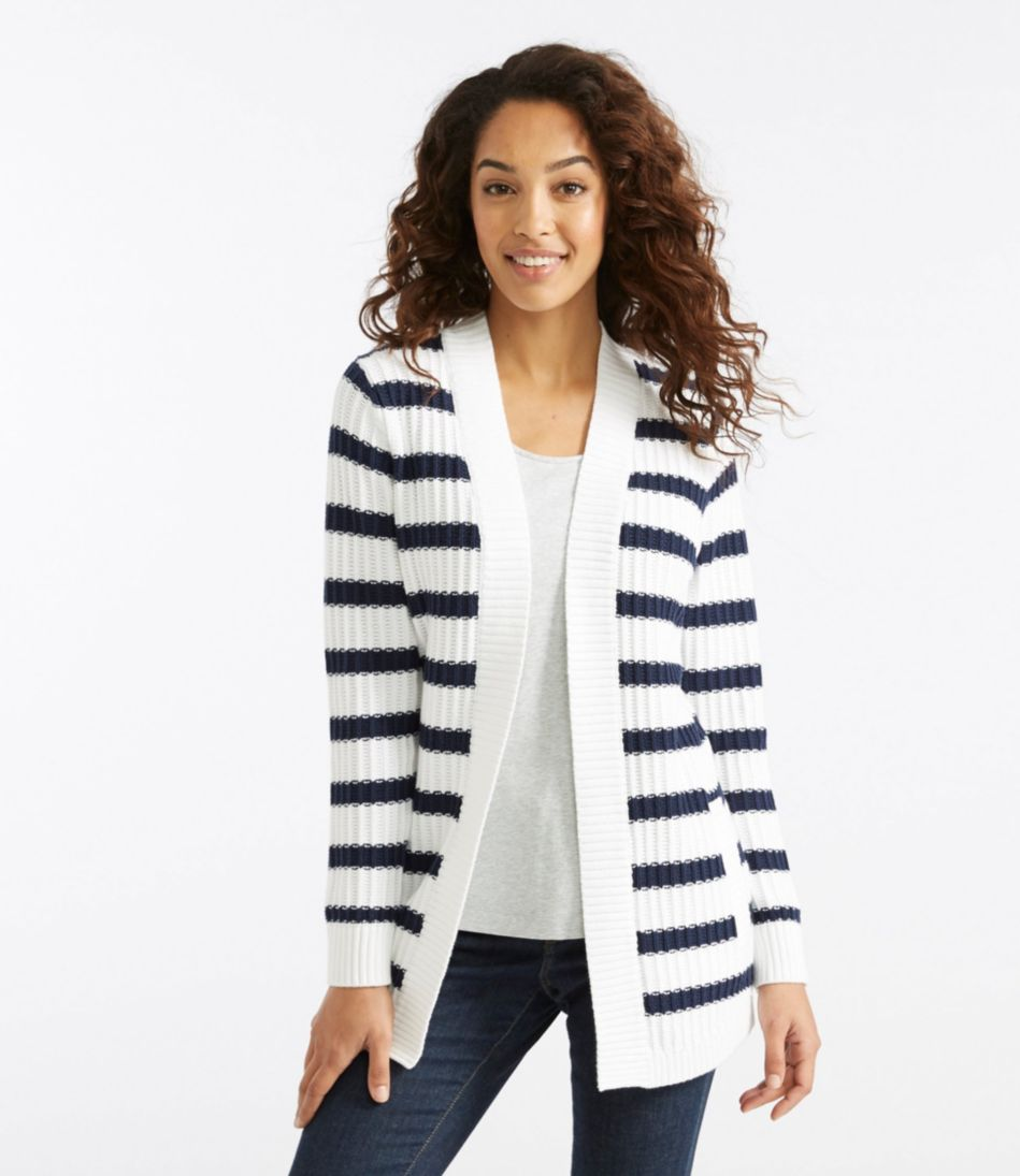 Fisherman Rib Open Cardigan, Stripe