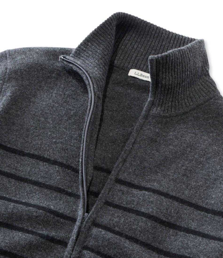 Classic Cashmere Mock Full-Zip Cardigan, Stripe