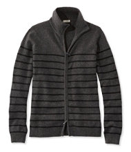 Classic Cashmere Mock Full-Zip Cardigan, Stripe