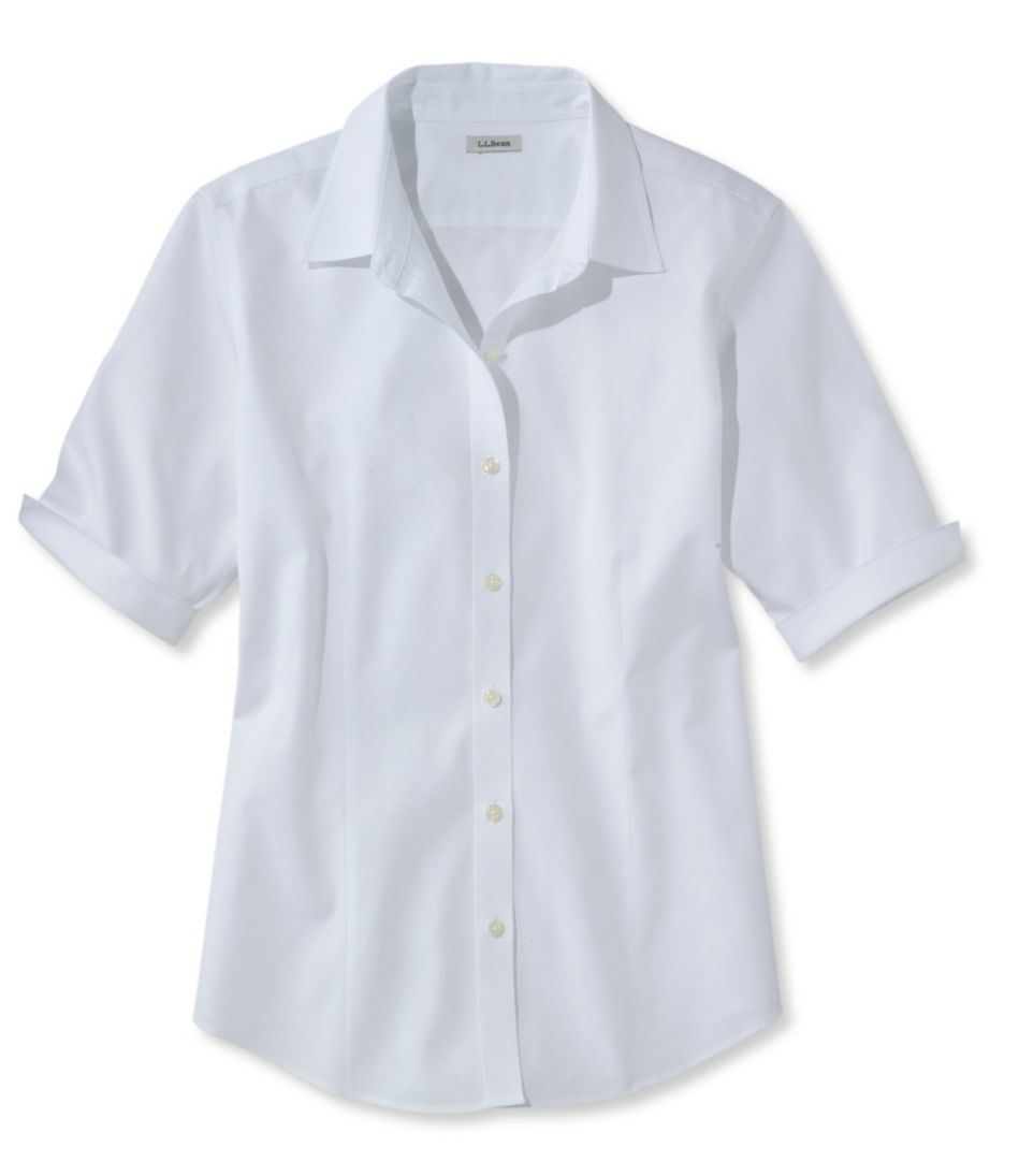 Wrinkle-Free Pinpoint Oxford Shirt, Elbow-Sleeve