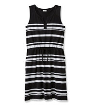 Splitneck Tie-Waist Dress, Stripe