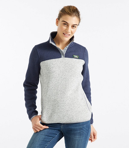 Women's L.L.Bean Sweater Fleece Pullover, Colorblock | Free ...