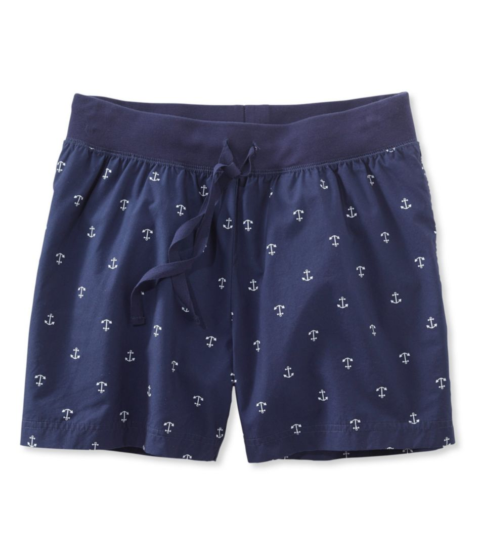 Women's Cotton Poplin Sleep Shorts, Print