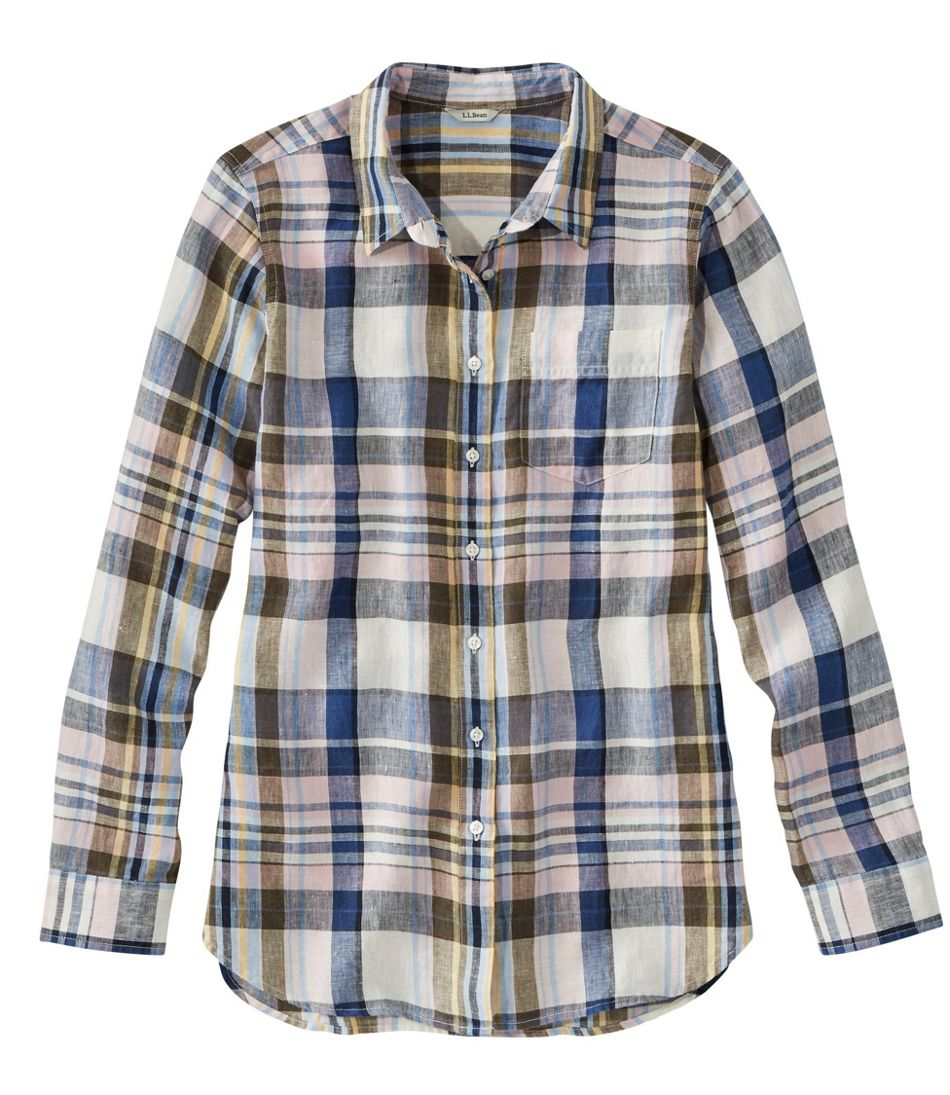 Women's Premium Washable Linen Shirt, Tunic Plaid