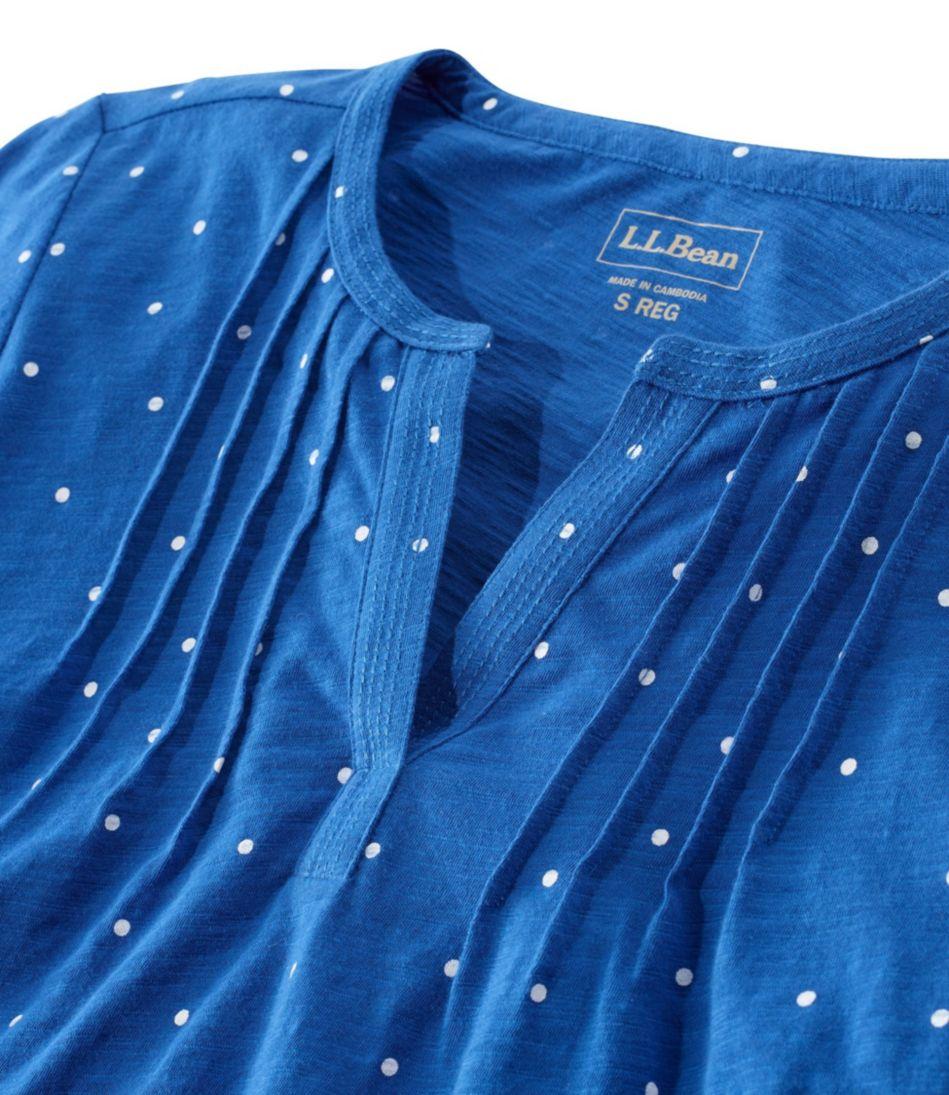 Pin-Tucked Cotton Henley, Three-Quarter-Sleeve Print