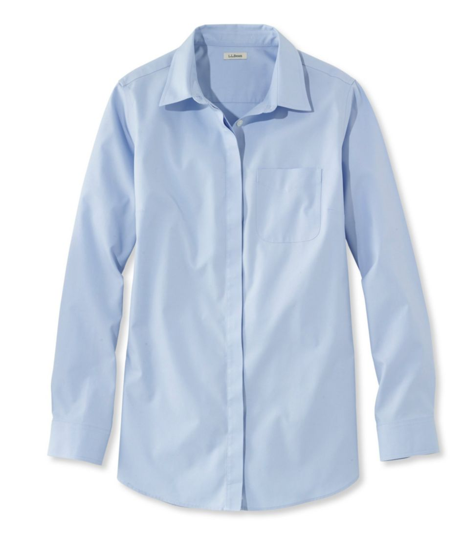 Wrinkle-Free Pinpoint Oxford Tunic, Long-Sleeve Slightly Fitted