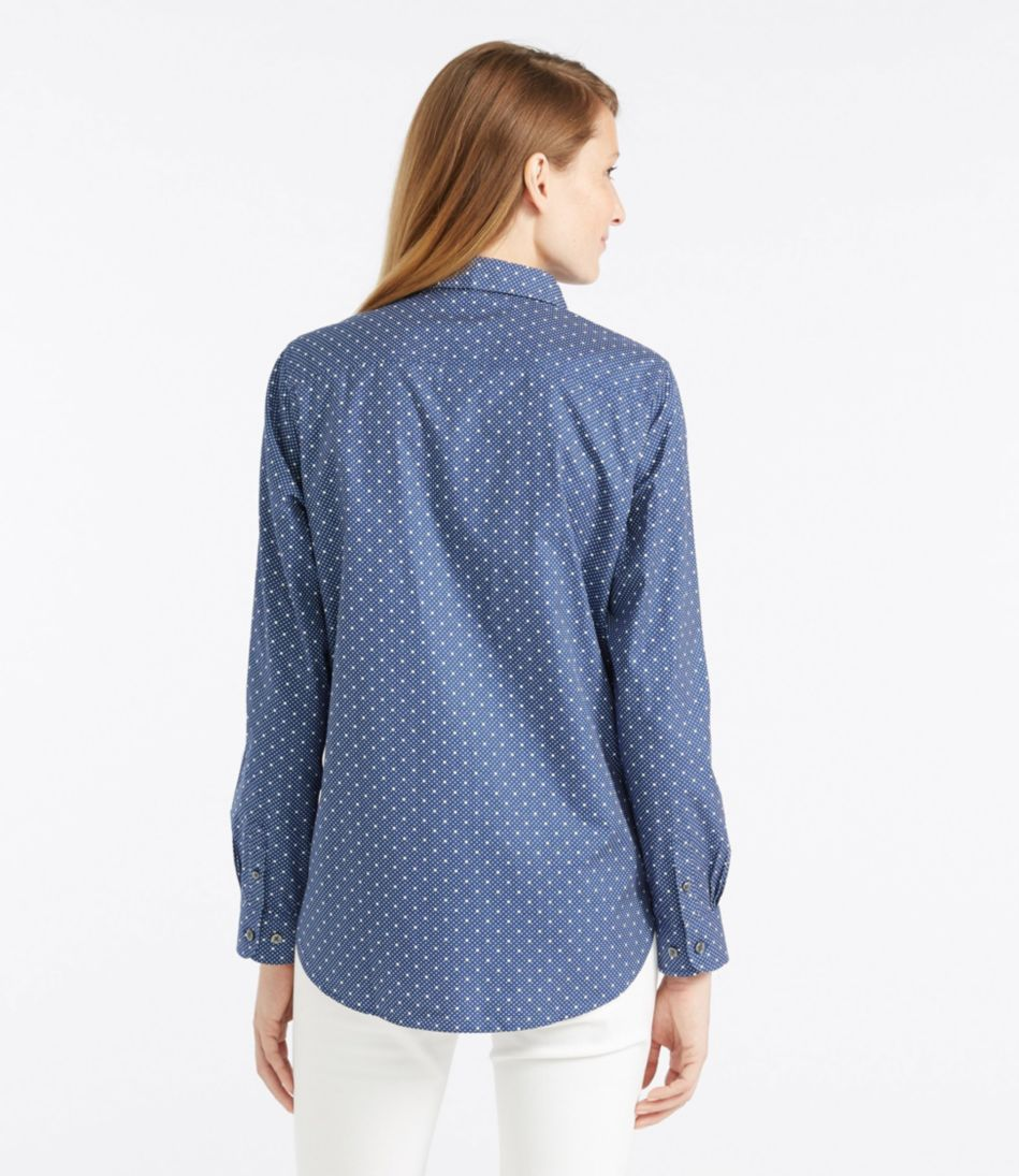 Wrinkle-Free Pinpoint Oxford Tunic, Long-Sleeve Slightly Fitted Dot