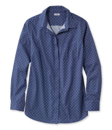 Wrinkle-Free Pinpoint Oxford Tunic, Long-Sleeve Dot