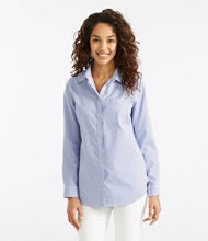 Wrinkle-Free Pinpoint Oxford Tunic, Long-Sleeve Slightly Fitted Stripe