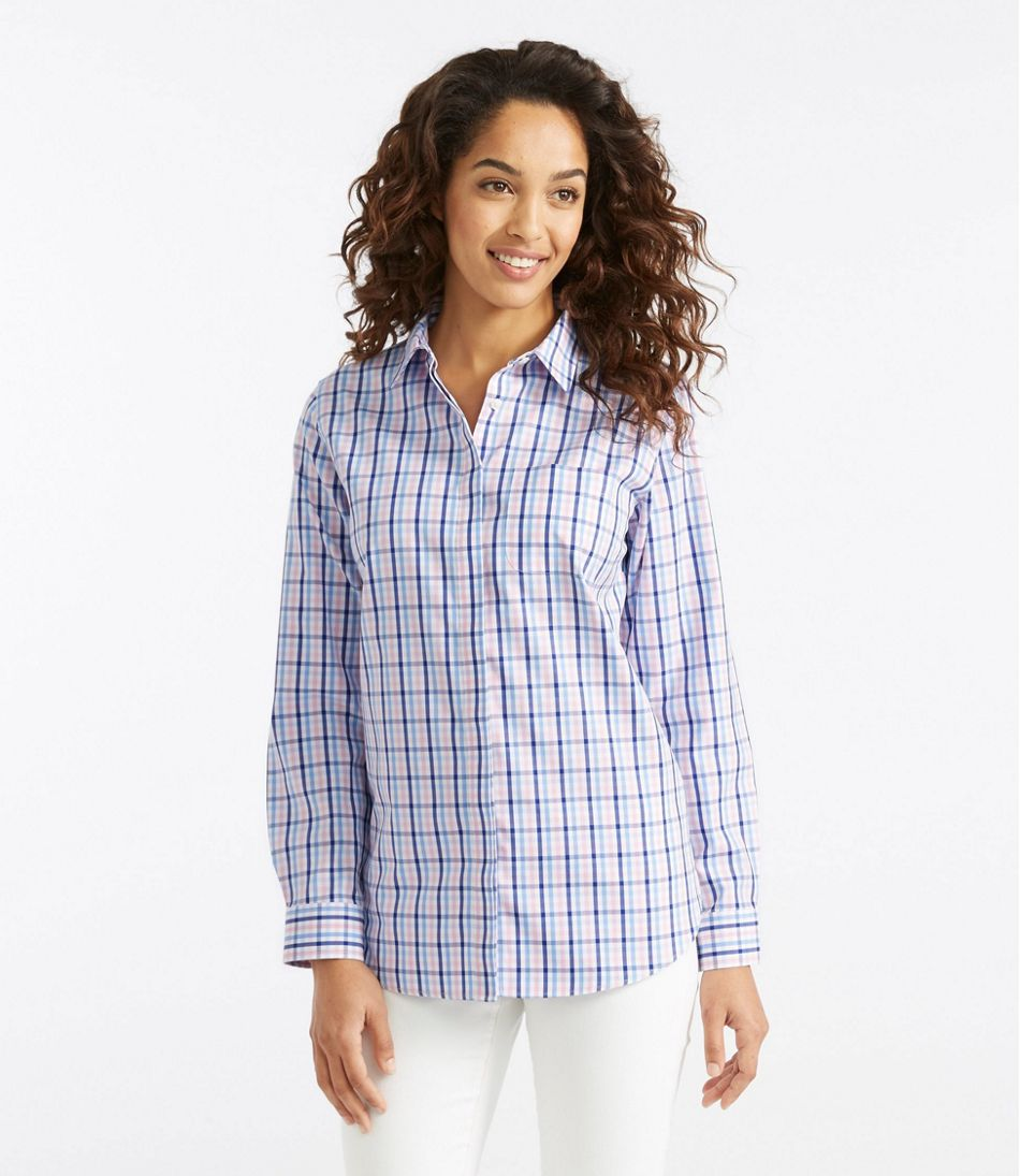 9a2466971c30 Wrinkle-Free Pinpoint Oxford Tunic, Long-Sleeve Slightly Fitted Gingham