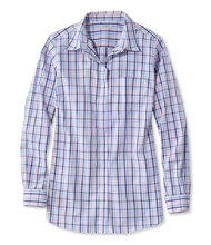 Wrinkle-Free Pinpoint Oxford Tunic, Long-Sleeve Slightly Fitted Gingham
