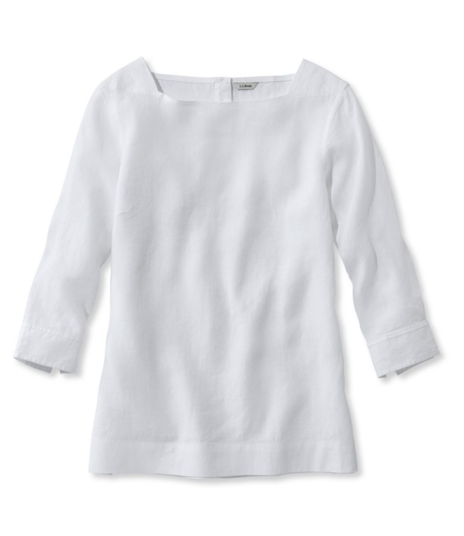 Premium Washable Linen Boatneck Popover, Three-Quarter-Sleeve
