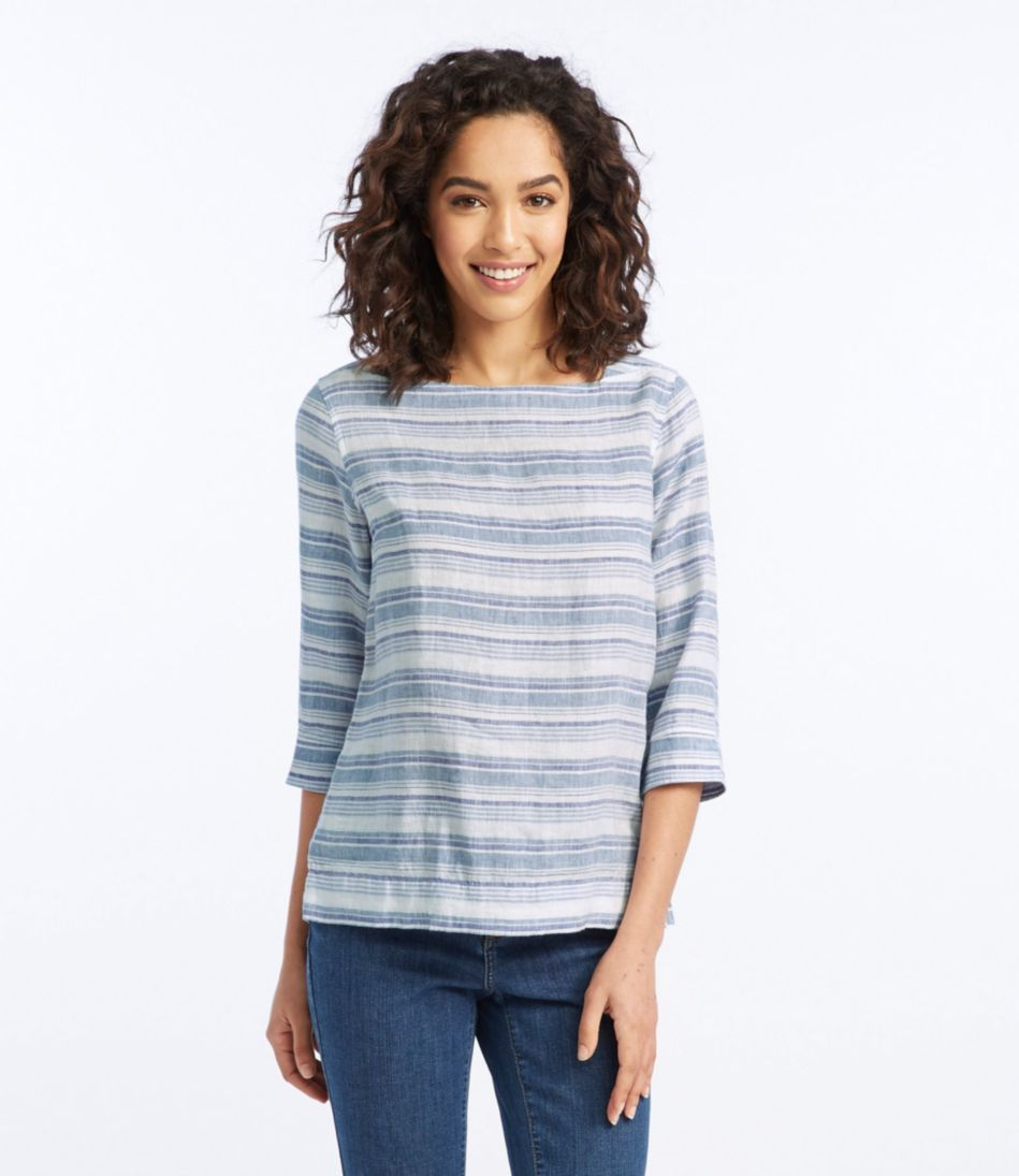 Premium Washable Linen Boatneck Popover, Three-Quarter-Sleeve Textured