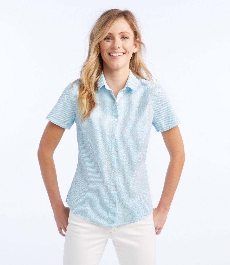 Women's Essential Seersucker Shirt, Short-Sleeve Stripe